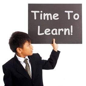 Time To Learn Sign Shows Learning Or Studying Now